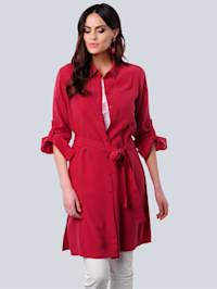 Lange blouse van een hoogwaardige materialenmix