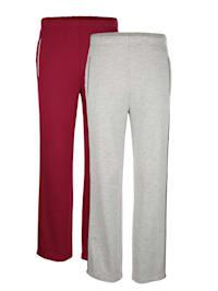 Lot de 2 pantalons de loisirs avec passepoil contrastant d'esprit sport