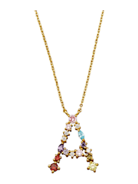Collier Letter A met multicolor synth. zirkonia's