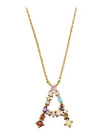 Halsband med bokstavshänge – A med cubic zirconia i flera olika färger