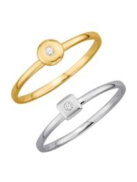2tlg. Ring-Set mit Diamanten