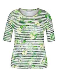Shirt mit geblümten und geringelten Details