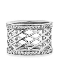 Ring 925/- Sterling Silber Topas weiß 54 rhodiniert 0,400ct 925/- Sterling Silber