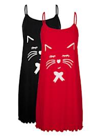 Nachthemden im 2er-Pack mit süßem Katzenprint