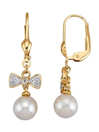 Boucles d'oreilles avec perles de culture d'Akoya blanches