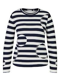 Pullover mit geringeltem Muster und Glitzersteinen