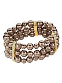 Armband 925/- Sterling Silber Muschelkernperle beige 19cm Glänzend