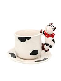 Dolomite Tasse mit Teller 2er Set Kuh