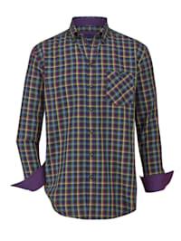 Skjorta med färgglatt rutmönster