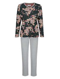 Pyjama met contrastkleurige details aan de V-hals