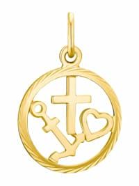 Motivanhänger für Damen, 375 Gold | Anker