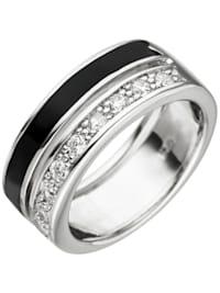 Damen Ring 925 Sterling Silber 9 Zirkonia schwarze Lackeinlage Silberring