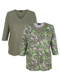 Lot de 2 T-shirts 1x imprimé végétal, 1x uni
