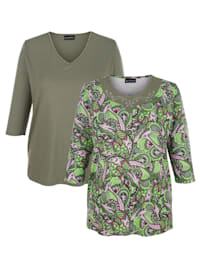 Shirts im 2er-Pack 1x mit Blätterdruck, 1x unifarben