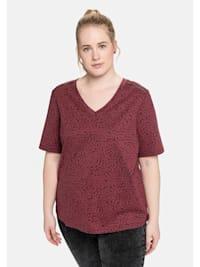 T-Shirt mit V-Ausschnitt und Alloverdruck