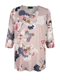 Shirt mit hübschem Ausschnitt und Blumendruck