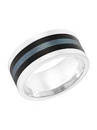 Ring für Herren, Edelstahl mit IP Schwarz   10 mm breit