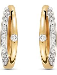CHRIST Damen-Creolen 585er Gelbgold 2 Diamant