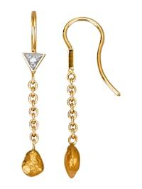Oorbellen met diamant en goudklompjes