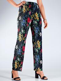 Pantalon plissé à imprimé floral