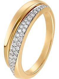 CHRIST Damen-Damenring 585er Gelbgold teilrhodiniert 40 Diamant