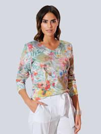 Pullover allover im floral bedruckten Dessin