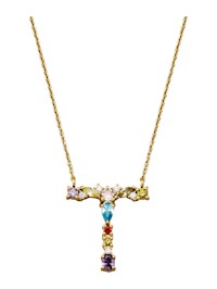 Collier Letter T met multicolor synth. zirkonia's