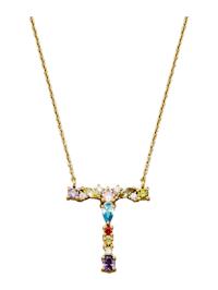 Halsband med bokstavshänge – T med cubic zirconia i flera olika färger
