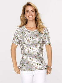 Top in a mixed print
