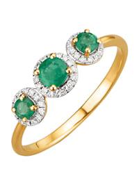 Damesring met smaragd en diamant