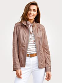 Faux suede jacket in an embossed fabric