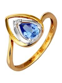 Damesring met tanzaniet en diamanten