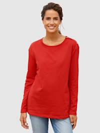 Sweatshirt med knappslå på ena axeln