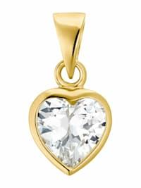 Motivanhänger für Damen, 375 Gold Zirkonia | Herz