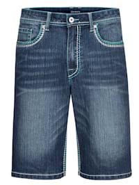 Džínsové bermudy s módnym kontrastným šitím