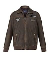 Kožený bluzon s odnímatelnou kožešinovou vsadkou na límci