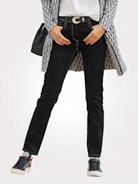 Jeans med dekorsömmar och strasstenar