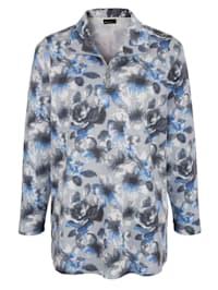 Sweatshirt med blommönster runtom