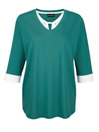 Shirt met contrastkleurige inzet