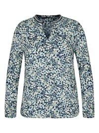 Bluse mit geblümtem Allover-Muster und V-Ausschnitt