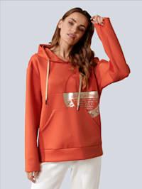 Sweatshirt mit modischem Druck und goldenen Akzenten