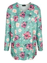 T-shirt en maille fine à motif fleuri