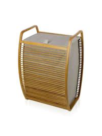Wäschekorb Bamboo 40x36x60cm , Bambus / Canvas
