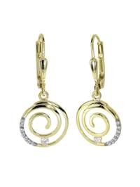 Ohrhänger - Spirale - Gold 333/000 - Zirkonia