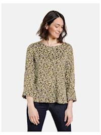 3/4 Arm Bluse mit Milles-Fleurs Dessin