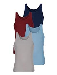 Achselhemden im 4er-Pack in klassischen Farben