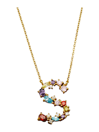 Collier Letter S met multicolor synth. zirkonia's