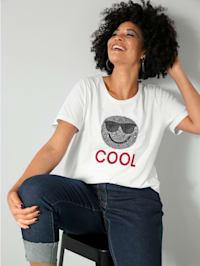 T-shirt à smiley pailleté et broderie