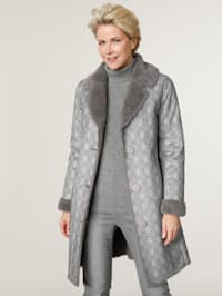 Faux fur coat with a check pattern