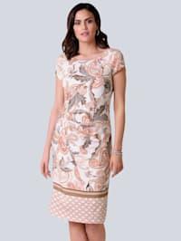 Žerzej šaty s exkluzivním Alba Moda vzorem